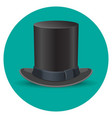 black male top hat isolated on green circle vector image vector image