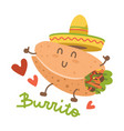 burrito in mexican hat sombrero cartoon food vector image vector image