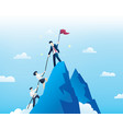 business people climb to top mountain vector image