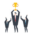 business winner businessman holds gold cup in his vector image