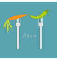 Carrot and green pea on fork Diet concept Menu vector image vector image