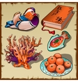 Chinese duck book tangerine and coral 5 images vector image vector image