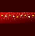 christmas ball with confetti xmas ball on red vector image vector image