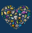 colorful set of marine life objects vector image vector image