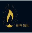 creative diwali golden diya on dark background vector image vector image