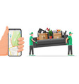delivery character man movers carry sofa and phone vector image vector image