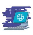 desktop computer with browser in screen vector image vector image