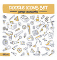 doodle icons set - garage accessories vector image vector image