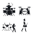 drummer drum rock musician icons set simple style vector image