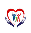 family heart holding hands icon vector image vector image