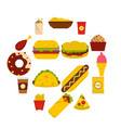 fast food icons set in flat style vector image vector image