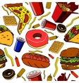 Fast food pattern vector image vector image