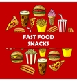 Fast food snacks label for menu card cover vector image vector image