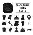 funeral ceremony set icons in black style big vector image vector image