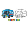 funny small bus or van with eyes coloring book vector image vector image