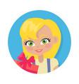 girl with fair hair and giftbox cartoon style vector image vector image