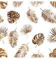 golden palm leaf seamless pattern on white vector image