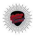 guitar pick with rays in flat style music store vector image vector image