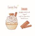 hand drawn cupcake cinnamon flavor vector image vector image