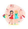 happy girls with shopping bags friends forever vector image vector image
