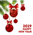 happy new year 2019 holiday poster with spruce vector image vector image