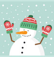 happy snowman character with hello vector image