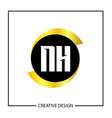 initial nh letter logo template design vector image vector image