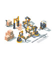 machinery production conveyor colorful isometric vector image vector image