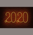 neon 2020 new year signs isolated on brick vector image vector image