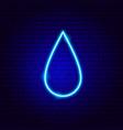 rain drop neon sign vector image vector image