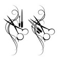 scissors and hair silhouette vector image vector image