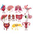 set cute and funny healthy human organ vector image vector image