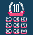 set of anniversary emblems template design vector image vector image