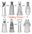 set of hand drawn women clothes wedding dresses vector image