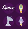 set startup rockets and antenna vector image