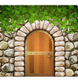 stone wall with arch and leaves vector image