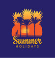 summer travel banner with sun palms and surfer vector image vector image