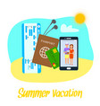 summer vacation clipart with lettering vector image vector image
