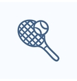Tennis racket and ball sketch icon vector image vector image