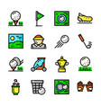 thin line golf icons set vector image vector image