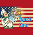 time for lunch fast food chef with tray with lid vector image
