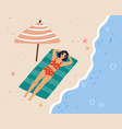 top view young woman relaxing and sunbathing in vector image vector image