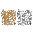 vintage initial letter p with baroque decoration vector image vector image