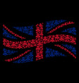 waving united kingdom flag mosaic of gas mask vector image vector image