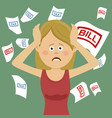 young desperate woman with bills and tax vector image