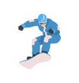 young man jumping with snowboard male athlete vector image
