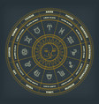 zodiac circle with horoscope signs thin line vector image vector image