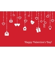Card for Valentines Day with hanging hearts gifts vector image
