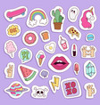 girl fashion symbols stickers patches cute vector image