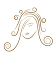 girls face gold sketch vector image